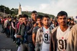 This group of Syrian refugees don't look like women or childreen but healthy young men ready for war