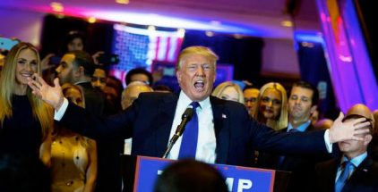 The Republican frontrunner arrived at his victory celebration in midtown Manhattan by entering the lobby of Trump Towers to the strains of Frank Sinatra singing New York, New York, then launched a broadside at the Republican establishment.