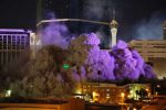 The Monaco Tower at the Riviera Hotel and Casino crumbles to the ground during a controlled demolition, Tuesday, June 14, 2016, in Las Vegas. The casino opened in 1955 and was closed last year to make room to expand the Las Vegas Convention Center. (AP Photo/John Locher)