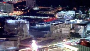 Riviera Hotel and Casino came tumbling down along the Las Vegas Strip