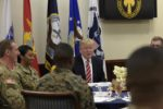 President Donald Trump has lunch with troops while visiting U.S. Central Command and U.S. Special Operations Command at MacDill Air Force Base, Fla., Monday, Feb. 6, 2017.  (AP Photo/Susan Walsh)