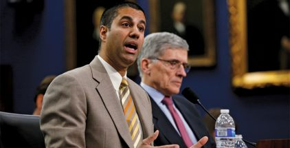 Federal Communications Commission (FCC) Commissioner Ajit Pai (L) and FCC Chairman Tom Wheeler testify at a House Appropriations Financial Services and General Government Subcommittee hearing on the FCC's FY2016 budget, on Capitol Hill in Washington March 24, 2015. REUTERS/Kevin Lamarque (Newscom TagID: rtrlsix945316.jpg) [Photo via Newscom]